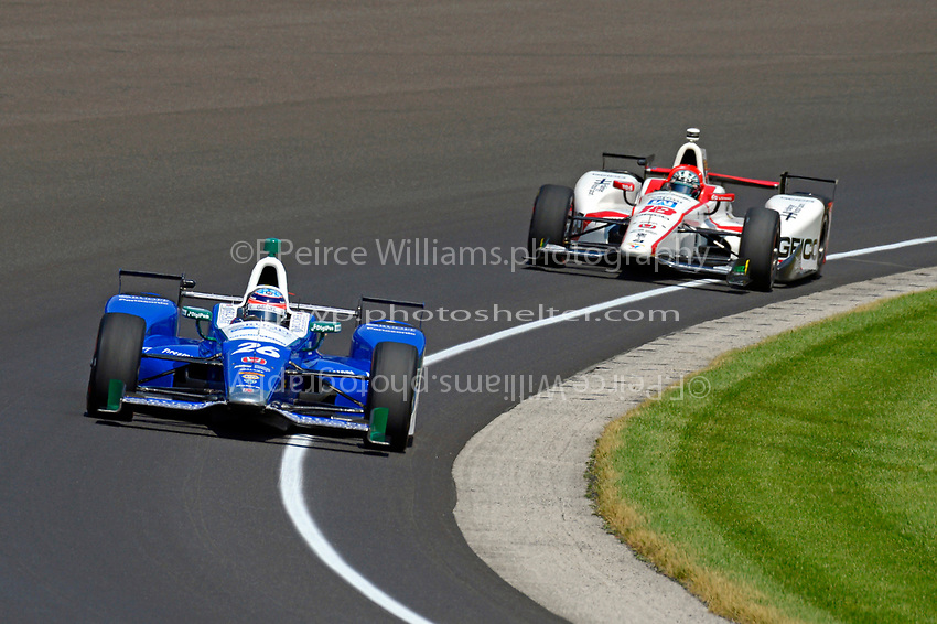 Verizon IndyCar Series<br /> Indianapolis 500 Carb Day<br /> Indianapolis Motor Speedway, Indianapolis, IN USA<br /> Friday 26 May 2017<br /> Takuma Sato, Andretti Autosport Honda, James Davison, Dale Coyne Racing Honda<br /> World Copyright: F. Peirce Williams