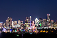 This another image of the Zilker Christmas tree along with the trail of light with the Austin skyline as the backdrop. You can't celebrate the holiday season her without at least one trip down to the trail of lights.