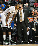 March 10, 2012; Indianapolis, IN, USA; Michigan State Spartans head coach Tom Izzo gives instructions to center Adreian Payne (5) during a Big Ten Confierence tournament semifinal game against the Wisconsin Badgers at Bankers Life Fieldhouse. (Photo by Bob Campbell)