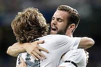 Real Madrid's Nacho Fernandez (r) and Luka Modric celebrate goal during XXXVI Santiago Bernabeu Trophy. August 18,2015. (ALTERPHOTOS/Acero)