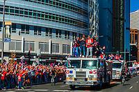 Cornerbacks Aqib Talib and Chris Harris Jr., Denver Broncos Super Bowl Victory Parade, Downtown Denver, Colorado USA.