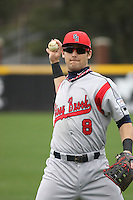 Stony Brook Seawolves infielder Maxx Tissenbaum #8 throwing in the outfield before a game against the  East Carolina University Pirates at Clark-LeClair Stadium on March 4, 2012 in Greenville, NC.  East Carolina defeated Stony Brook 4-3. (Robert Gurganus/Four Seam Images)