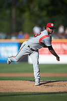Carolina Mudcats starting pitcher Nelson Hernandez (48) follows through on his delivery against the Fayetteville Woodpeckers at SEGRA Stadium on May 18, 2019 in Fayetteville, North Carolina. The Mudcats defeated the Woodpeckers 6-4. (Brian Westerholt/Four Seam Images)