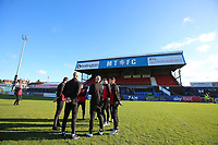 Kingstonian  players inspect the pitch during Macclesfield Town vs Kingstonian, Emirates FA Cup Football at the Moss Rose Stadium on 10th November 2019