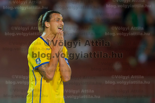 Sweden's Zlatan Ibrahimovic reacts during the UEFA EURO 2012 Group E qualifier Hungary playing against Sweden in Budapest, Hungary on September 02, 2011. ATTILA VOLGYI
