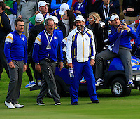 Some of the European Team arrive on the 18th hole during the Sunday Singles Matches of the Ryder Cup at Gleneagles Golf Club on Sunday 28th September 2014.<br /> Picture:  Thos Caffrey / www.golffile.ie