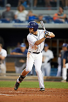 Charlotte Stone Crabs right fielder Nathan Lukes (4) at bat during a game against the Palm Beach Cardinals on April 11, 2017 at Charlotte Sports Park in Port Charlotte, Florida.  Palm Beach defeated Charlotte 12-6.  (Mike Janes/Four Seam Images)