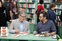 Monday 26 May 2014, Hay on Wye, UK<br /> Pictured L-R: Steven D. Levitt and Stephen J. Dubner. <br /> Re: The Hay Festival, Hay on Wye, Powys, Wales UK.
