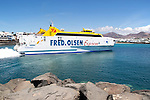 Fred Olsen Bocayna Express ferry leaving Playa Blanca, Lanzarote, Canary Islands, Spain