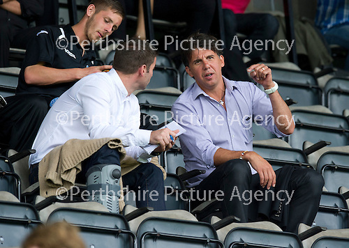St Johnstone v Aberdeen....18.08.12   SPL.Former saints Peter MacDonald and Nick Dasovic watch the game.Picture by Graeme Hart..Copyright Perthshire Picture Agency.Tel: 01738 623350  Mobile: 07990 594431