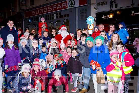 Santa Claus met the children at the turning on the Christmas lights in Killorglin on Saturday evening