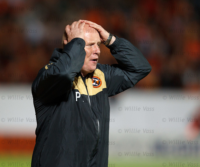 Peter Houston stands on the sidelines cursing as his Dundee Utd team go down to AEK Athens in a stormy match