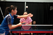 February 11, 2012. Cary, NC.. Jun Gao, who finished 11-0 for the weekend, prepares to receive a serve from Lily Zhang in the first match of the day.. The US Olympic Table Tennis Trials were held Feb. 10-12 at Bond Park in Cary. Winners front he trials will return in April to compete in the continental trials with Canada to set the teams for the London Olympics this summer.