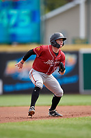 Altoona Curve Mitchell Tolman (19) leads off second base during an Eastern League game against the Erie SeaWolves and on June 4, 2019 at UPMC Park in Erie, Pennsylvania.  Altoona defeated Erie 3-0.  (Mike Janes/Four Seam Images)