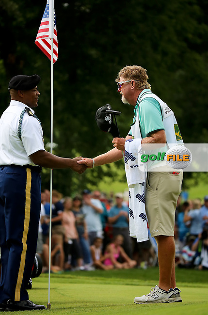 12 JUL 15 Veteran caddie and PGA Pro Darron Green thanking the military during Sunday's Final Round of the John Deere Classic at The TPC Deere Run in Silvis, Ill. (photo credit : kenneth e. dennis/kendennisphoto.com)