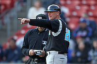 Syracuse Chiefs manager Randy Knorr #26 makes a change during a game against the Buffalo Bisons at Dunn Tire Park on April 7, 2011 in Buffalo, New York.  Syracuse defeated Buffalo 8-5.  Photo By Mike Janes/Four Seam Images