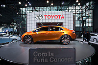 A Toyota Corolla furia is seen at the 2013 New York International Auto Show in New York March 27, 2013. The 113th New York International Auto Show, which runs from March 29 to April 7, features 1,000 vehicles as well the latest in tech, safety and innovation. Photo by Eduardo Munoz Alvarez / VIEWpress.