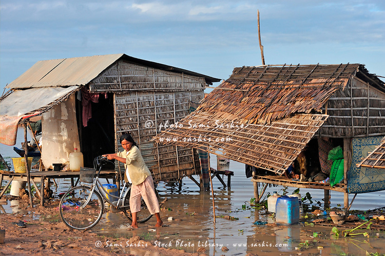 Fishermen houses on Tonle Sap lake, Siem Reap, Cambodia