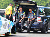 Jun 9, 2017; Englishtown , NJ, USA; Crew members for NHRA funny car driver Tim Wilkerson during qualifying for the Summernationals at Old Bridge Township Raceway Park. Mandatory Credit: Mark J. Rebilas-USA TODAY Sports