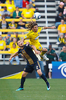 24 OCTOBER 2010:  Columbus Crew defender Frankie Hejduk (2) flies over Philadelphia Union defender Jordan Harvey (2) during MLS soccer game at Crew Stadium in Columbus, Ohio on August 28, 2010.