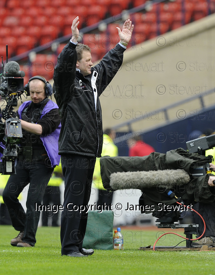 12/04/2008    Copyright Pic: James Stewart.File Name : sct_jspa33_qots_v_aberdeen.QUEEN OF THE SOUTH MANAGER GORDON CHISHOLM CELEBRATES AT THE END OF THE GAME.James Stewart Photo Agency 19 Carronlea Drive, Falkirk. FK2 8DN      Vat Reg No. 607 6932 25.Studio      : +44 (0)1324 611191 .Mobile      : +44 (0)7721 416997.E-mail  :  jim@jspa.co.uk.If you require further information then contact Jim Stewart on any of the numbers above........
