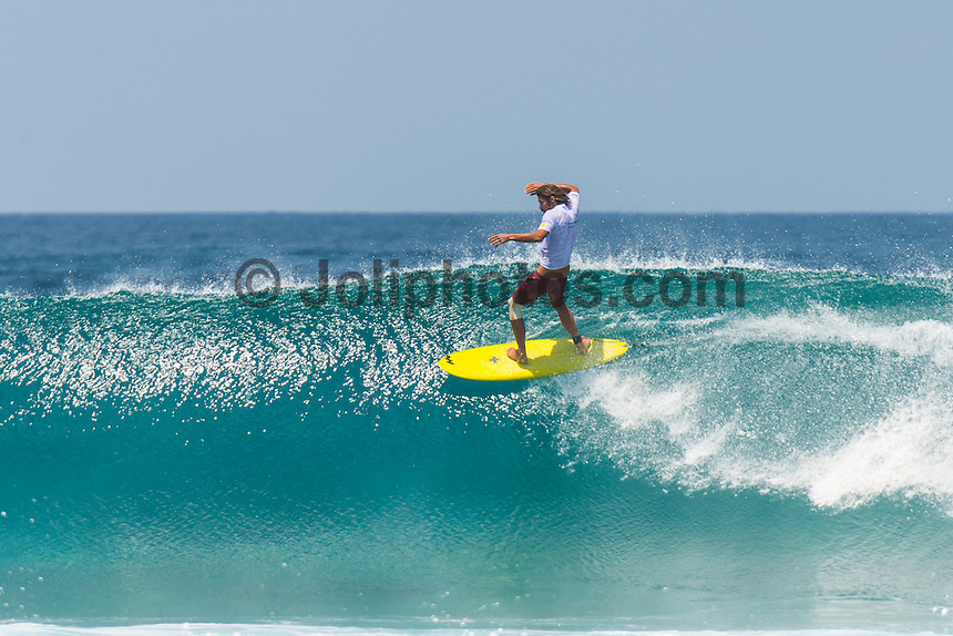 Four Seasons,Kuda Huraa, Maldives (Wednesday, August 4, 2015) The worlds 'most luxurious surfing event,' the Four Seasons Maldives Surfing Champions Trophy kicked off today  at the famed 'Sultans Point' with the Single Fin Round.The swell was out of the South East today with waves in the 3'-4' range.  Neco Padaratz (BRA),  and Dave  Rastovich fought out the final in solid surf. Sofia Mulanovich  (PRU),  and Brad Gerlach (USA), finished = 5rd with Harley Englby (AUS) and Shane Dorian (HAW) finishing =3rd.   Photo: joliphotos.com