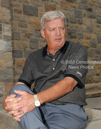Blacksburg, VA - July 11, 2007 -- Virginia Tech Head Football Coach Frank Beamer is interviewed outside Norris Hall, the site of 31 of the 33 fatalities in the Virginia Tech Massacre on April 16, 2007.  Coach Beamer was photographed on Wednesday, July 11, 2007..Credit: Ron Sachs / CNP.(RESTRICTION: No New York Metro or other Newspapers within a 75 mile radius of New York City)