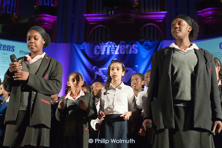 London Citizens Choir. London Citizens Mayoral Accountability Assembly, Central Hall, Westminster.