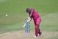 Andre Russell (West Indies) goes inside out over cover during West Indies vs New Zealand, ICC World Cup Warm-Up Match Cricket at the Bristol County Ground on 28th May 2019