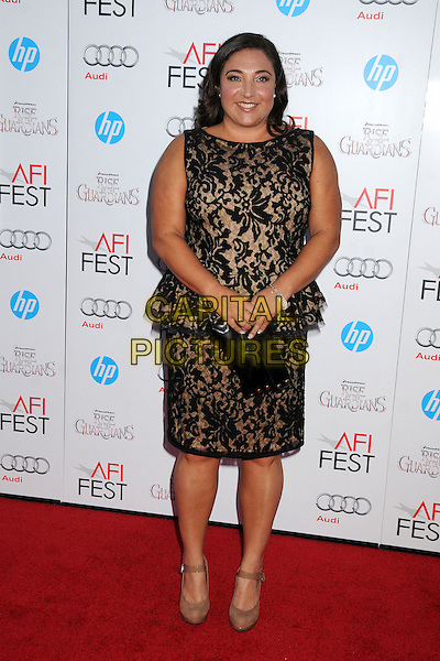 "Jo Frost.AFI FEST 2012 ""Rise of the Guardians"" Gala Screening held at Grauman's Chinese Theatre, Hollywood, California, USA..November 4th, 2012.full length black lace sleeveless dress peplum clutch bag.CAP/ADM/BP.©Byron Purvis/AdMedia/Capital Pictures."