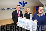 Bon Secours Hospital's Owen McCarthy, mission leaders, Community Initiatives Programme, presented to Paula Henry, Adult Service Manager Enable Ireland Kerry Services, and Sean Scally, Community Fundraiser Enable Ireland ,  with  a cheque for €4000, which will be used to purchase a ceiling tracking hoist for our adult services in Edward Street, Tralee