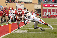 NWA Democrat-Gazette/MICHAEL WOODS • @NWAMICHAELW<br /> University of Arkansas receiver Drew Morgan dives into the end zone past Auburn defender Blake Countess to score a touchdown in the 4th overtime period of Saturdays game at Razorback Stadium in Fayetteville.