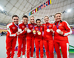 Lima, Peru -  26/August/2019 - Canada medal haul from day one of track cycling at the Parapan Am Games in Lima, Peru. Photo: Dave Holland/Canadian Paralympic Committee.  Pictured are: Andrew Davidson, Lowell Taylor, Meghan Lemiski, Carly Shibley, Evelyne Gagnon and Annie Bouchard.