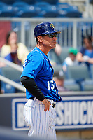 Biloxi Shuckers manager Mike Guerrero (13) during a game against the Jackson Generals on April 23, 2017 at MGM Park in Biloxi, Mississippi.  Biloxi defeated Jackson 3-2.  (Mike Janes/Four Seam Images)