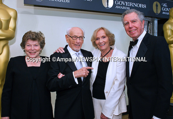 "GOVERNORS AWARDS 2010.Actress Anne Jackson (left), Honorary Award recipient Eli Wallach (left center), Oscar®-winning actress Eva Marie Saint (right center) and director Jeffrey Hayden attend the 2010 Governors Awards in the Grand Ballroom at Hollywood & Highland, Hollywood, Los Angeles_14/11/2010.Mandatory Photo Credit: ©Harbaugh/Newspix International..**ALL FEES PAYABLE TO: ""NEWSPIX INTERNATIONAL""**..PHOTO CREDIT MANDATORY!!: NEWSPIX INTERNATIONAL(Failure to credit will incur a surcharge of 100% of reproduction fees)..IMMEDIATE CONFIRMATION OF USAGE REQUIRED:.Newspix International, 31 Chinnery Hill, Bishop's Stortford, ENGLAND CM23 3PS.Tel:+441279 324672  ; Fax: +441279656877.Mobile:  0777568 1153.e-mail: info@newspixinternational.co.uk"