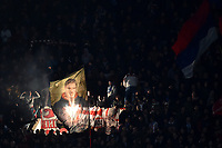 Crvena Zvezda fans cheer on during the Uefa Champions League 2018/2019 Group C football match betweenSSC Napoli and Crvena Zvezda at San Paolo stadium, Napoli, November, 28, 2018 <br /> Foto Andrea Staccioli / Insidefoto