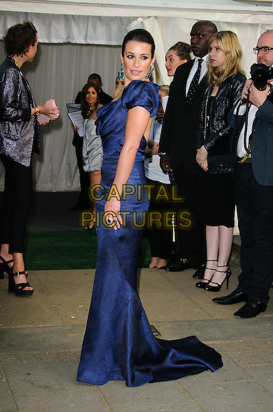 Lea Michele.Women Of The Year 2012 - Glamour Awards, Berkeley Square, London, England..29th May 2012.full length blue off the shoulder dress side .CAP/CJ.©Chris Joseph/Capital Pictures.