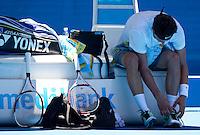 BERNARD TOMIC (AUS) against FERNANDO VERDASCO (ESP) in the First Round of the Men's Singles. Bernard Tomic beat Fernando Verdasco 4-6 6-7 6-4 6-2 7-5..16/01/2012, 16th January 2012, 16.01.2012..The Australian Open, Melbourne Park, Melbourne,Victoria, Australia.@AMN IMAGES, Frey, Advantage Media Network, 30, Cleveland Street, London, W1T 4JD .Tel - +44 208 947 0100..email - mfrey@advantagemedianet.com..www.amnimages.photoshelter.com.