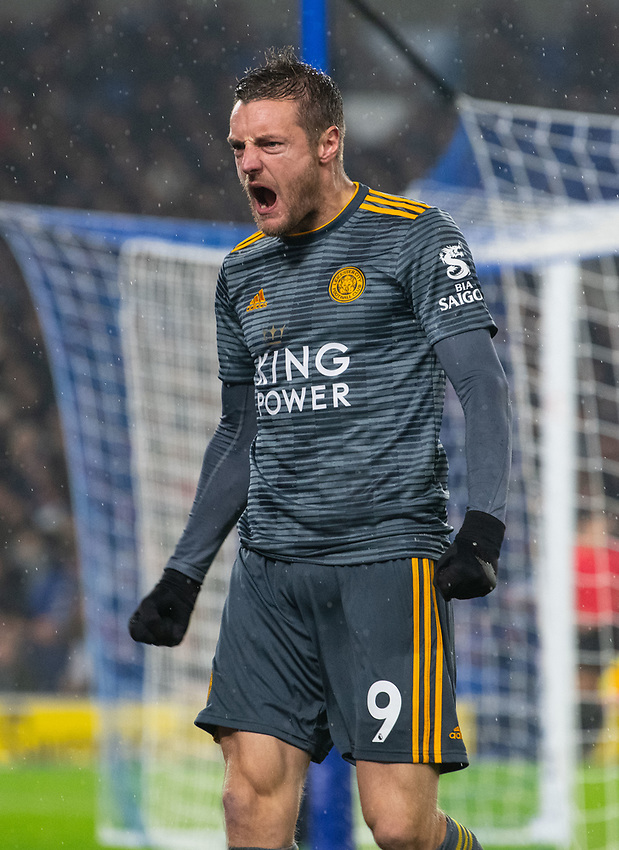 Leicester City's Jamie Vardy celebrates scoring his side's first goal <br /> <br /> Photographer David Horton/CameraSport<br /> <br /> The Premier League - Brighton and Hove Albion v Leicester City - Saturday 24th November 2018 - The Amex Stadium - Brighton<br /> <br /> World Copyright © 2018 CameraSport. All rights reserved. 43 Linden Ave. Countesthorpe. Leicester. England. LE8 5PG - Tel: +44 (0) 116 277 4147 - admin@camerasport.com - www.camerasport.com