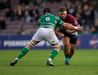 Harlequin's Phil Swainston is tackled by Newcastle Falcons'  Ryan Burrows<br /> <br /> Photographer Bob Bradford/CameraSport<br /> <br /> Premiership Rugby Cup Round 2 Pool 1 - Harlequins v Newcastle Falcons - Sunday 4th November 2018 - Twickenham Stoop - London<br /> <br /> World Copyright © 2018 CameraSport. All rights reserved. 43 Linden Ave. Countesthorpe. Leicester. England. LE8 5PG - Tel: +44 (0) 116 277 4147 - admin@camerasport.com - www.camerasport.com