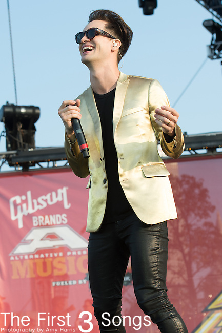 Brandon Urie of Panic! at the Disco performs at the 2014 AP Music Awards at the Rock And Roll Hall Of Fame and Museum at North Coast Harbor in Cleveland, Ohio.