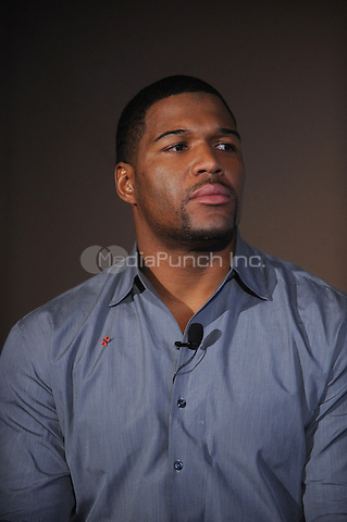 Michael Strahan attends the DRIVE4COPD Drivers Meeting at the ESPNZone  in New York City. February 3, 2010 Credit: Dennis Van Tine/MediaPunch