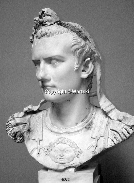 BNPS.co.uk (01202 558833)<br /> Pic: Wartski/BNPS<br /> <br /> Emperor Caligula. AD 37-41<br /> <br /> Rock of Ages - Emperor Caligula's ring leads stellar exhibition at Royal Jewellers Wartski.<br /> <br /> A precious jewel, created for the most infamous of Rome's Emperor's nearly 2000 years ago, is causing gem collectors from around the world to flock to London as it goes on sale tomorrow.<br /> <br /> The exquisite solid sapphire hololith ring, a former star of the legendary collection of the 4th Duke of Marlborough in the 18th century, is thought to be valued at close to £500,000.<br /> <br /> The sky blue stone is etched with a portrait of his last wife, the notorious Caesonia, said to have been so beautiful that the depraved Emperor paraded her naked in front of his troops. <br /> <br /> She was played by Dame Helen Mirren in the controversial 1979 movie Caligula.<br /> <br /> The ring is the star attraction at a selling exhibition of over 100 engraved gems collected by Royal jewellers Wartski opening on Monday.<br /> <br /> The exhibition has sparked worldwide interest, with collectors from as far afield as Japan queueing outside their premises days before to be first through the door.