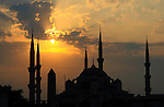 Istanbul, Turkey. The Blue mosque is the only mosque with 6 minarets in Turkey.