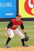 Zach Cozart of the Carolina Mudcats fielding versus the Huntsville Stars on April 22, 2009 at Five County Stadium in Zebulon, NC