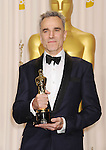 HOLLYWOOD, CA - FEBRUARY 24: Daniel Day-Lewis poses in the press room the 85th Annual Academy Awards at Dolby Theatre on February 24, 2013 in Hollywood, California.