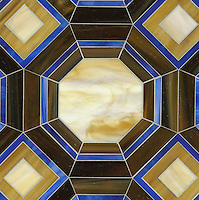 Gregory, a water jet jewel glass mosiac, shown in Lapis Lazuli, Tortoise Shell, Tiger's Eye, and Amber is part of the Ann Sacks Beau Monde collection sold exclusively at www.annsacks.com