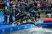 June 11th 2017, Leeds, Yorkshire, England; ITU World Triathlon Leeds 2017; Cecilia Gabriela Perez Flores and Michelle Flipo competes in the swimming phase in the lake at Roundhay Park