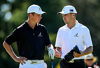 Luke Brown (caddy) and Daniel Hillier (L) during the New Zealand Amateur Golf Championship final at Russley Golf Course, Christchurch, New Zealand. Sunday 5 November 2017. Photo: Simon Watts/www.bwmedia.co.nz