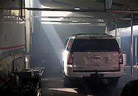 Jun 5, 2015; Englishtown, NJ, USA; Tow vehicle of NHRA top fuel driver Steve Torrence during qualifying for the Summernationals at Old Bridge Township Raceway Park. Mandatory Credit: Mark J. Rebilas-